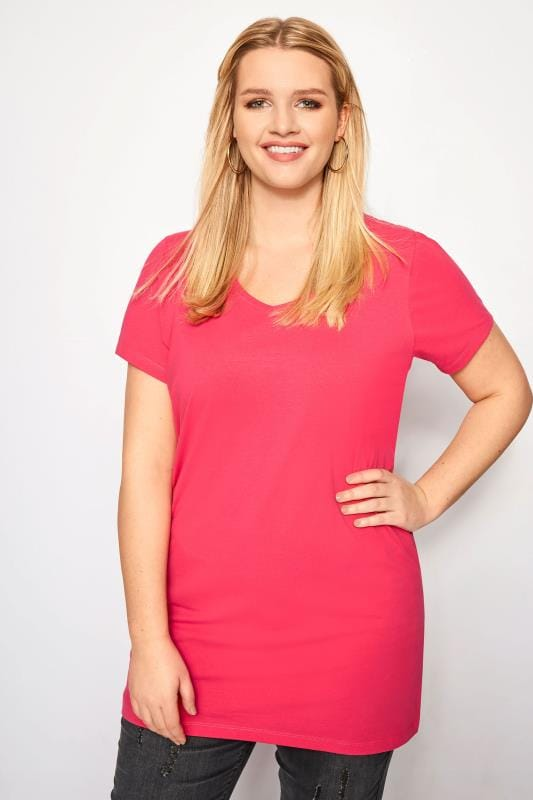 Plus Size Basic T-Shirts & Vests Pink Longline T-Shirt