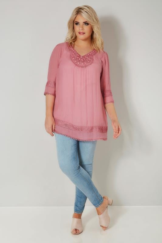 Pink Longline Top With Embellished Neckline