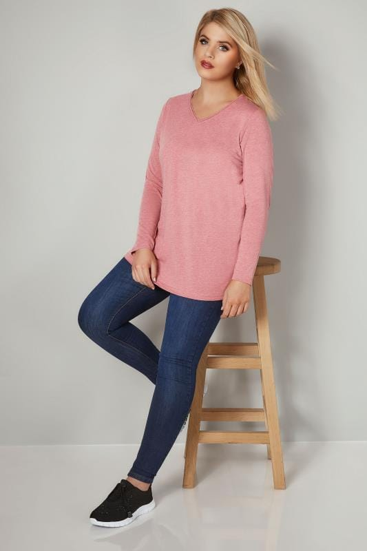 Pink Marl Long Sleeved V-Neck Jersey Top