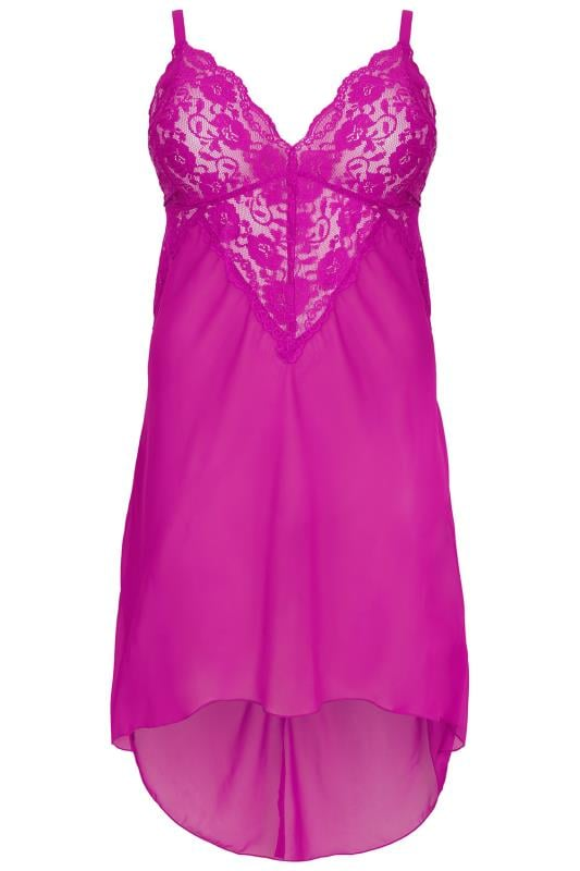 YOURS LONDON Pink Mesh & Lace Chemise With Extreme Dip Hem