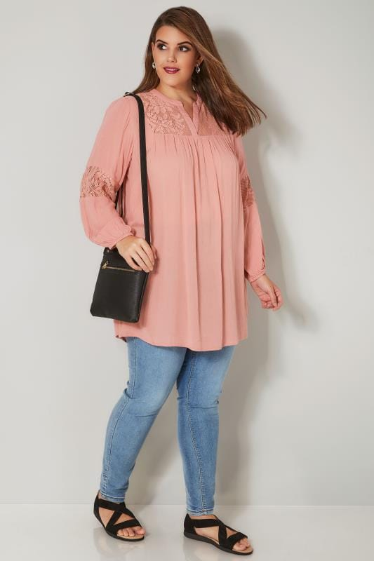 Pink Lace Insert Blouse