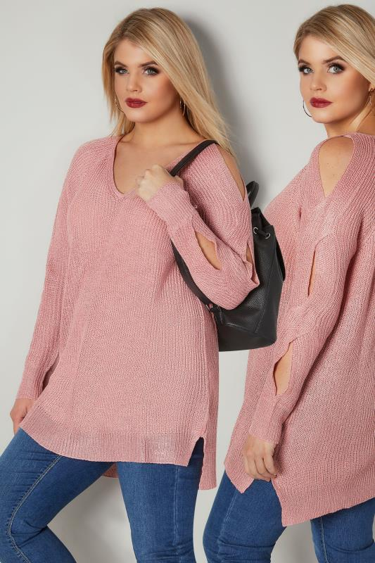 Plus Size Jumpers Pink Metallic Jumper With Cross Cut Out Sleeves