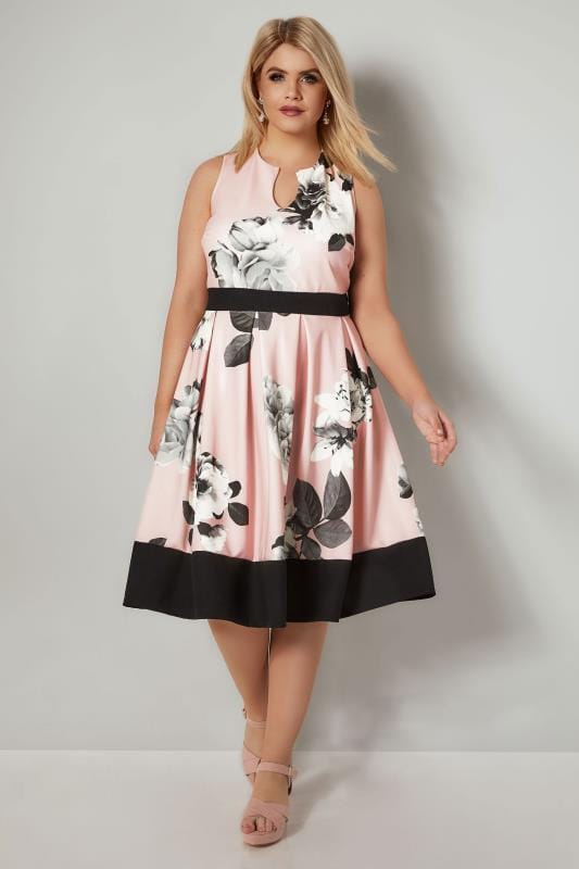 Pink Monochrome Floral Print Skater Dress