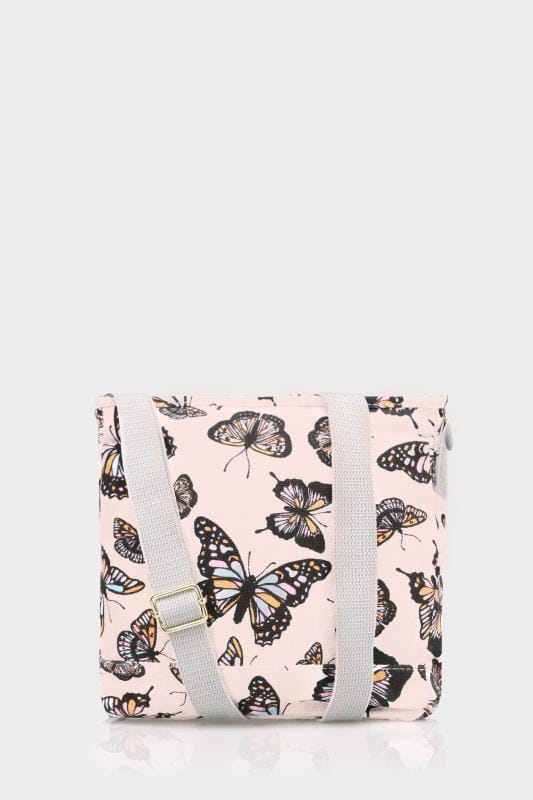 Pink & Multi Butterfly Print Canvas Cross Body Bag