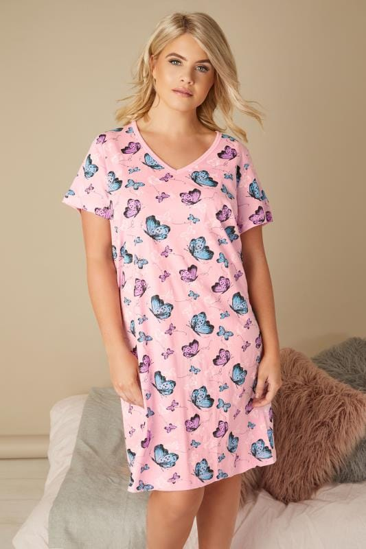 Pink & Multi Butterfly Print Nightdress