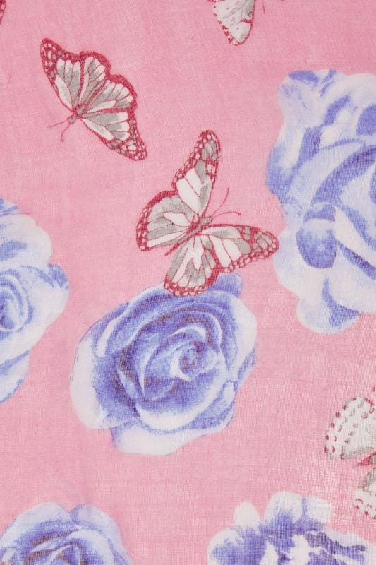 Pink & Multi Butterfly Print Scarf