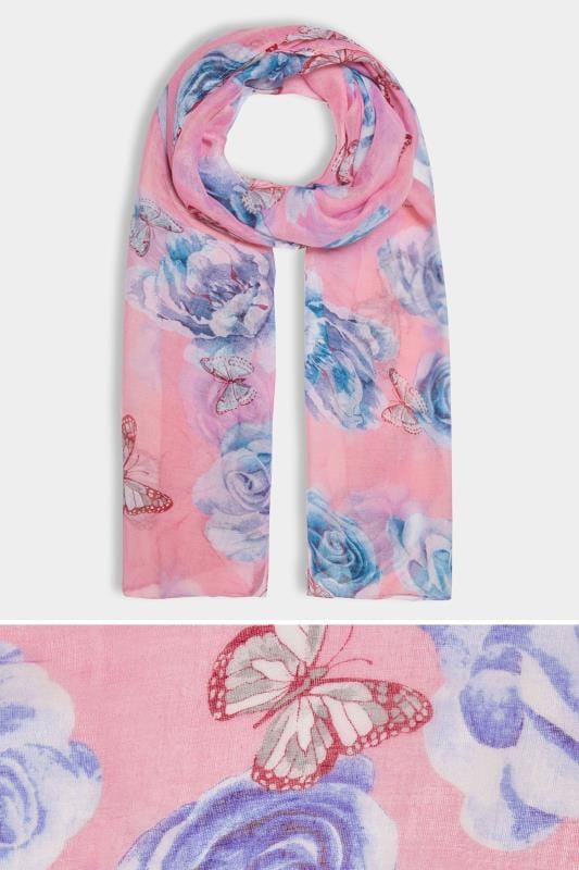 Plus Size Scarves Pink & Multi Butterfly Print Scarf