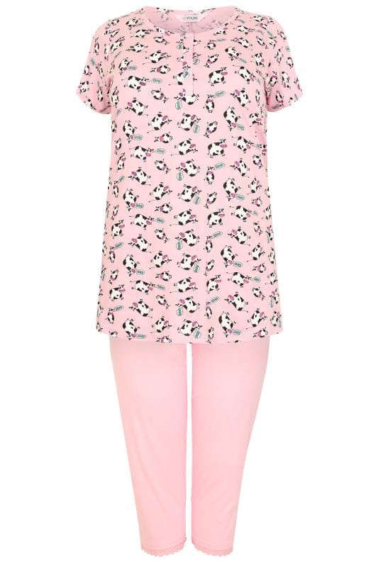 Pink & Multi Cow Print T-shirt & Cropped Bottoms Pyjama Set