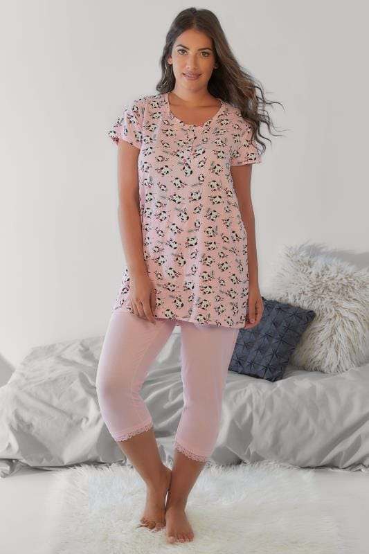 Pyjama Sets Pink & Multi Cow Print T-shirt & Cropped Bottoms Pyjama Set 148127