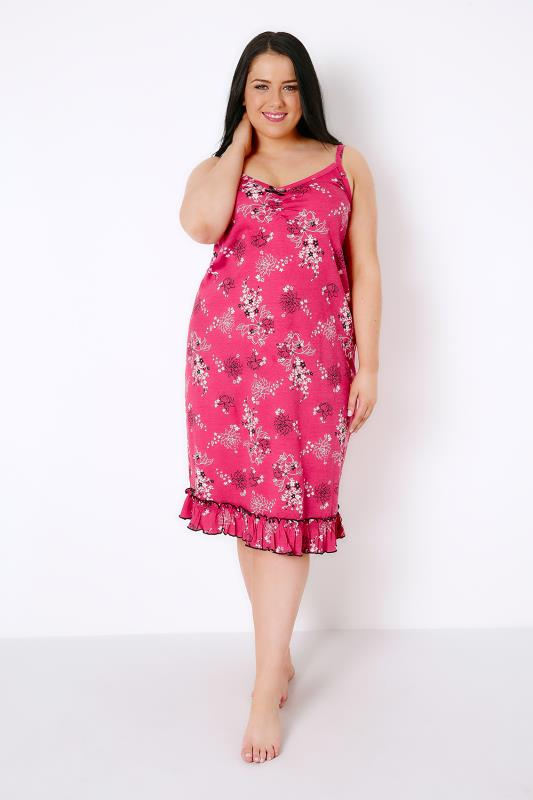 Pink & Multi Floral Print Chemise With Ruffle Hem