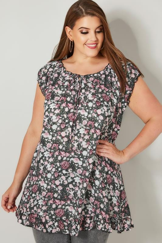 Plus Size Longline Tops Pink & Multi Floral Print Gypsy Top