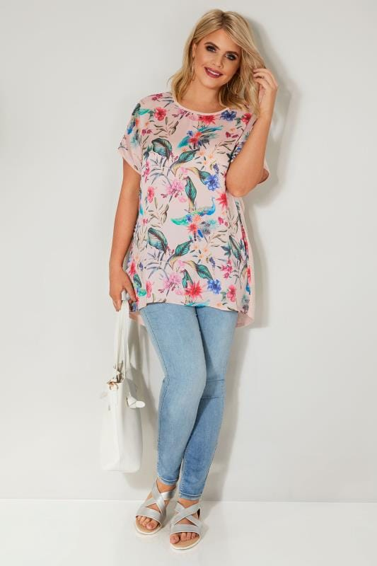 Pink & Multi Floral Print Sateen Top With Rear Bow Detail