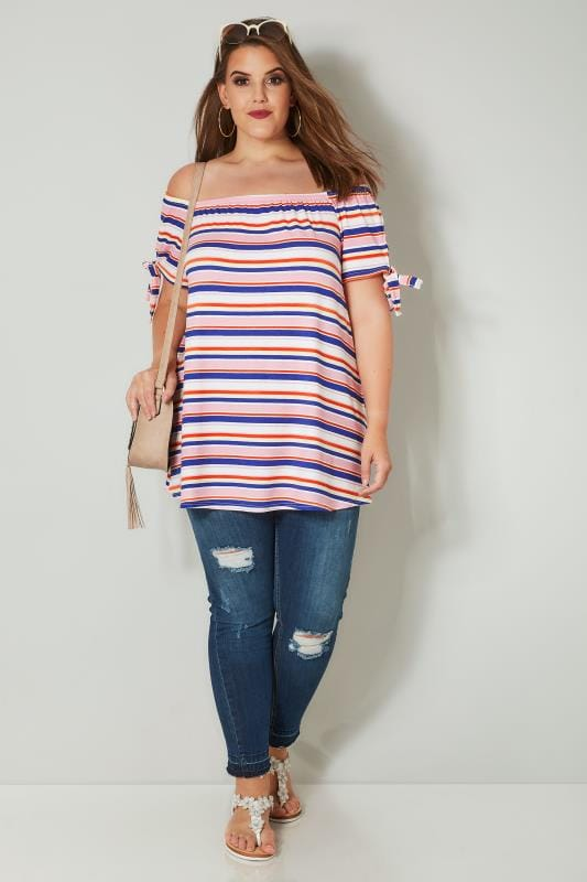 Pink & Multi Striped Print Bardot Top With Tie Sleeves