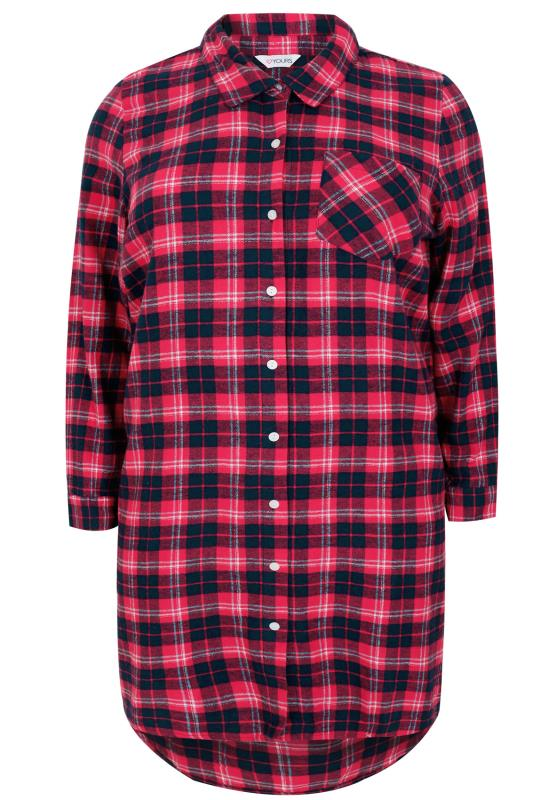 Pink & Navy Brushed Check Nightshirt With Metallic Thread