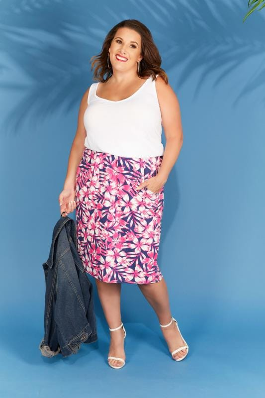 Plus Size Skater Skirts Pink & Navy Floral Print Drape Skirt With Pockets