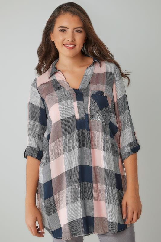 Plus Size Blouses & Shirts Pink & Navy Oversized Checked Shirt With V-Neck