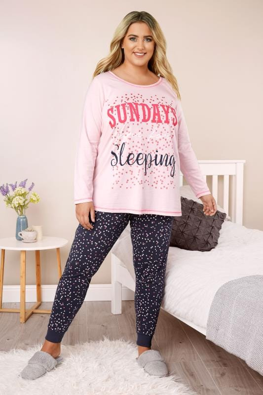 "Pijamas Tallas Grandes Pijama algodón rosa y azul marino ""Sundays are for sleeping"""