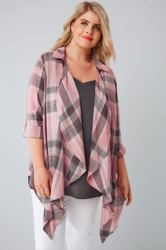 Pink Open Front Checked Shirt
