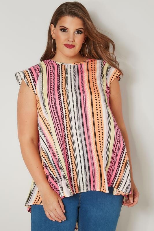 Plus Size Day Tops Pink & Orange Aztec Print Woven Top