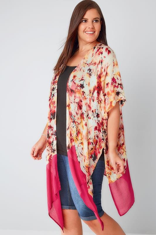Pink, Orange & White Floral Print Kimono With Border