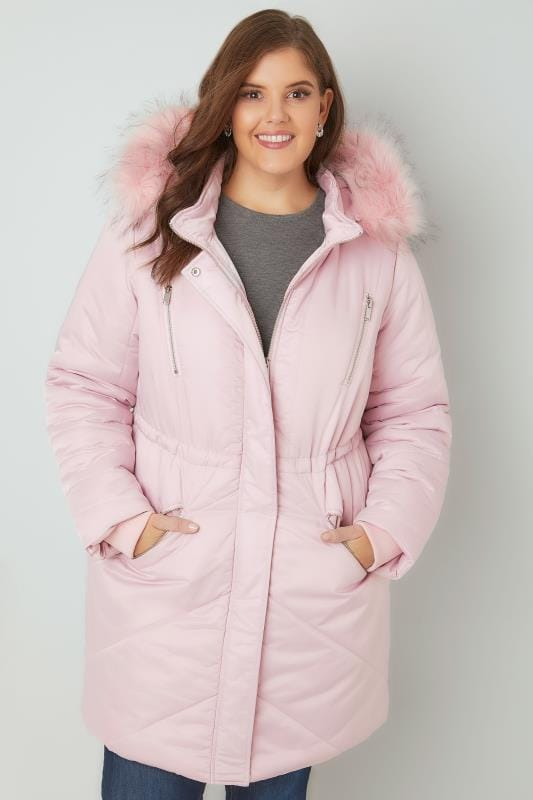Pink Padded Parka Jacket With Faux Fur Hood, Plus size 16 to 36