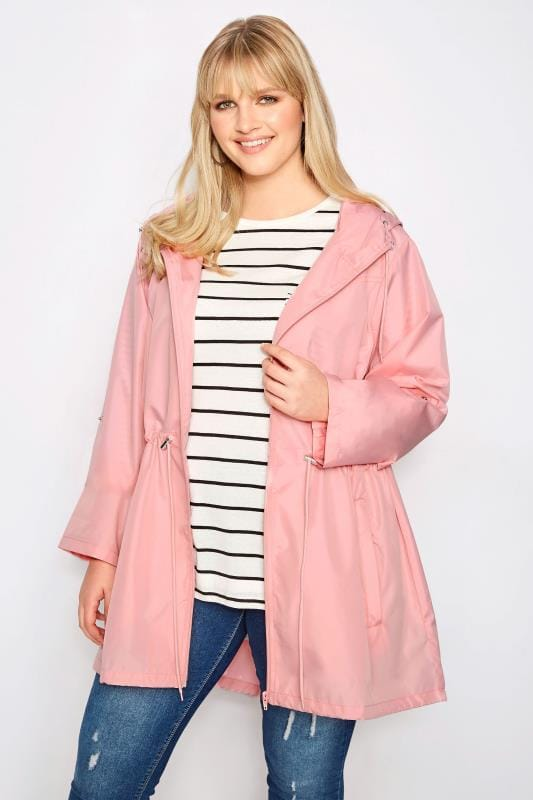 Plus Size Parka Coats Pink Pocket Parka Jacket With Hood