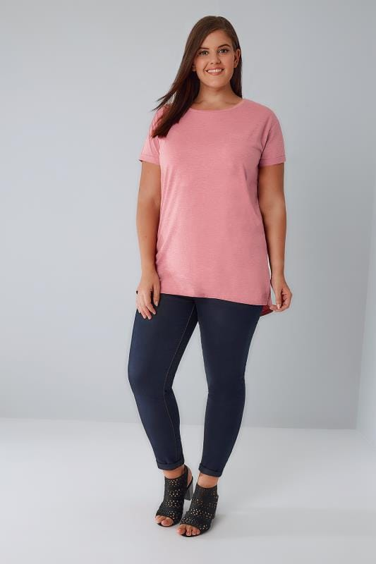 Pink Mock Pocket T-Shirt With Curved Hem