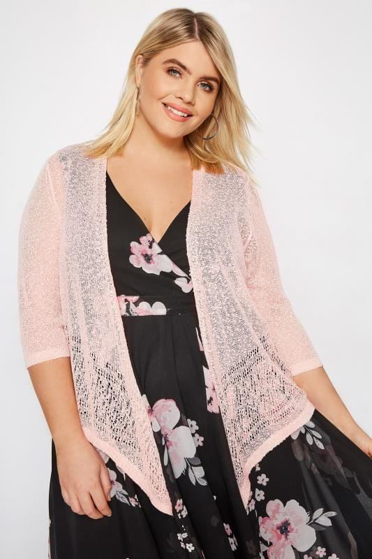 Plus Size Shrugs Pink Popcorn Cropped Shrug