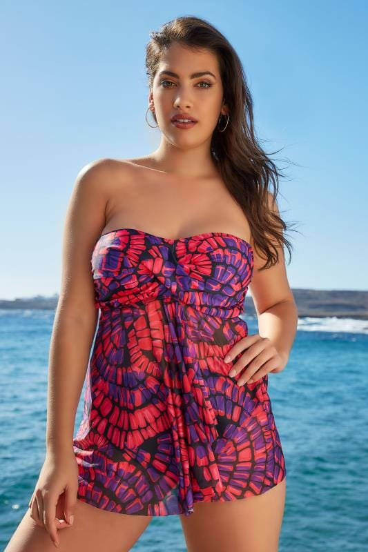 Pink & Purple Printed Mesh Tankini Top