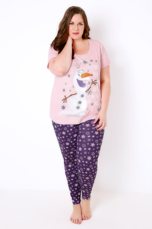 "Pink & Purple ""Some People Are Worth Melting For"" Olaf Print Disney Pyjama Set"