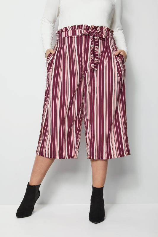 Plus Size Culottes Pink & Purple Stripe Culottes