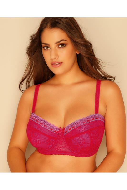 Plus Size Padded Bras Pink & Red Overlaid Lace Moulded Balcony Bra