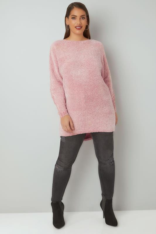 Pink Ribbed Chenille Batwing Jumper