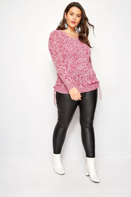 Raspberry Ruched Hem Lace Jumper