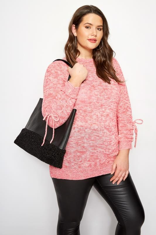 Plus Size Sweaters Pink Ruched Sleeve Lace Jumper
