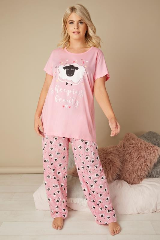 Plus Size Pyjamas Pink 'Sheeping Beauty' Pyjama Set