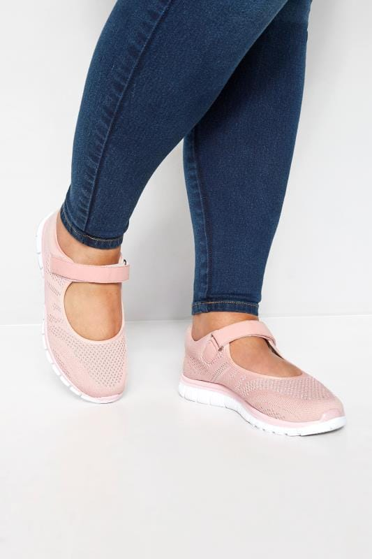 Plus Size Flats Pink Shimmer Knit Strap Pumps