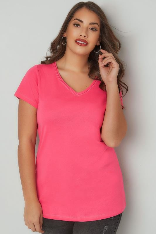 Pink Short Sleeved V-Neck Basic T-Shirt