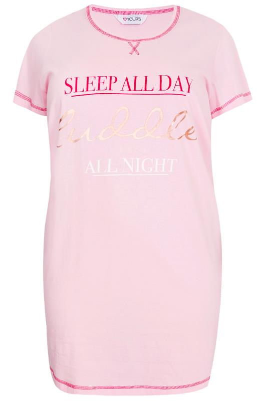 Pink Sleep All Day Cuddle All Night Print Nightdress