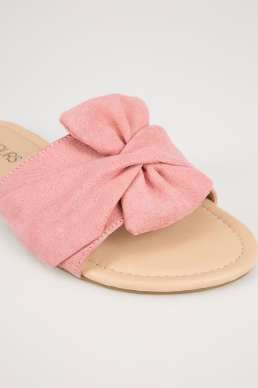 Pink Twist Bow Slip On Sandals In EEE Fit