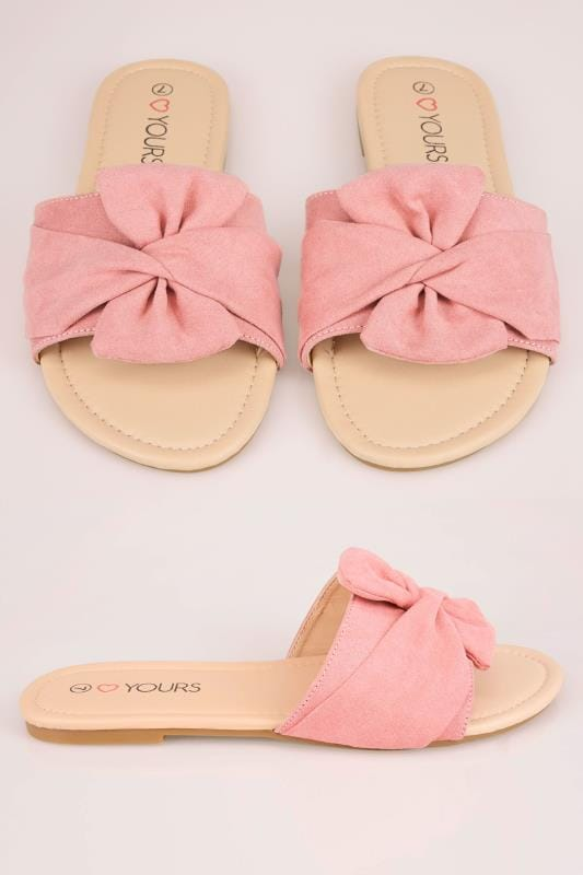 Wide Fit Sandals Pink Slip On Sandals With Twist Bow Strap In True EEE Fit