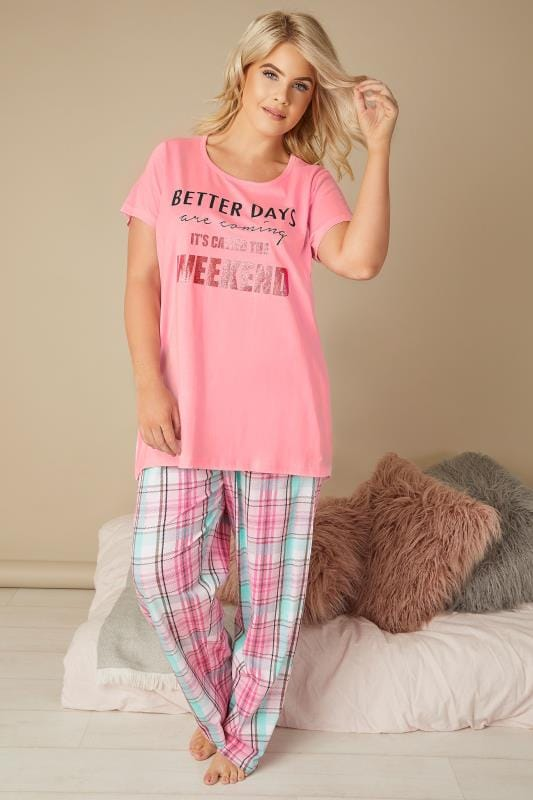 Plus Size Pyjamas Pink Slogan & Check Print Pyjama Set