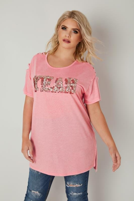 Plus Size Day Tops Pink Slogan Embellished T-Shirt With Lattice Detail