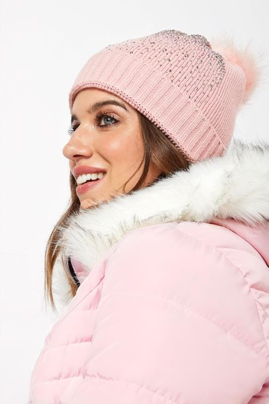 Plus Size Hats Pink Sparkle Pom Pom Hat