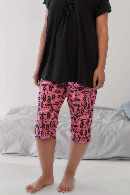 Pink Speech Bubble Print Cropped Pyjama Bottoms
