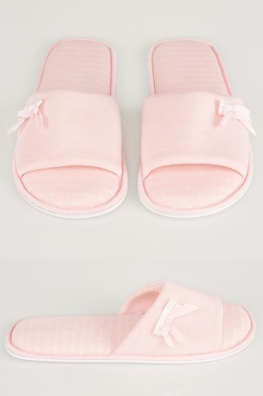 Wide Fit Slippers Pink Spot Slippers With Double Bow Detail