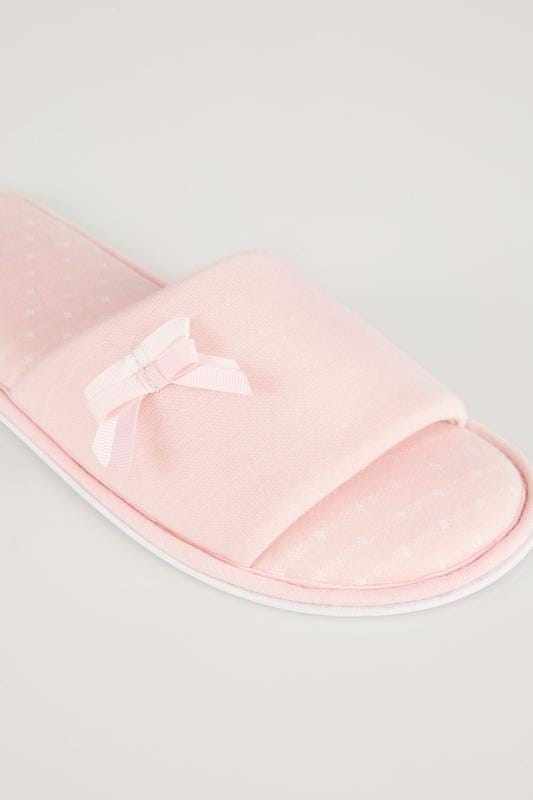 Pink Spot Slippers With Double Bow Detail