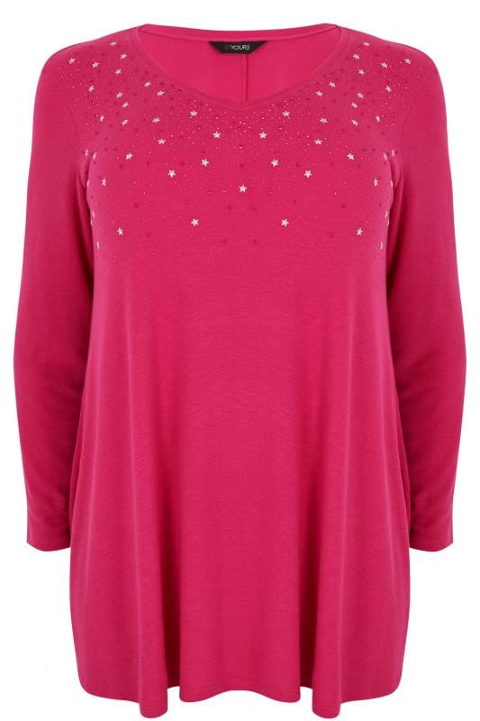 Pink Star Studded Swing Top With V-Neckline, plus size 16 ...