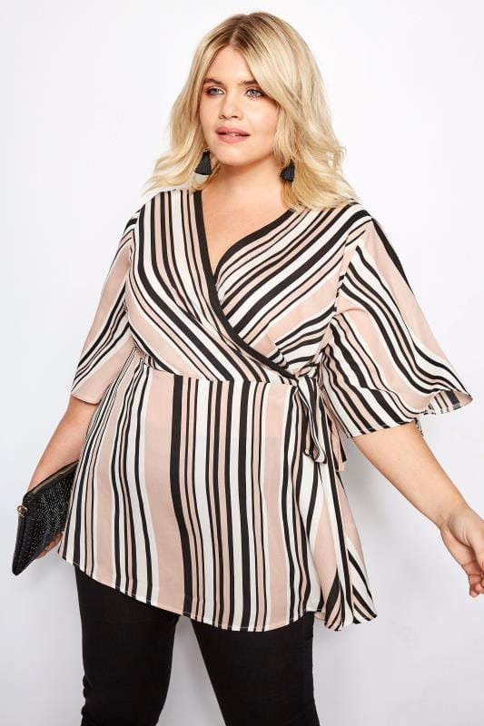 Plus Size Blouses Pink Stripe Chiffon Wrap Top