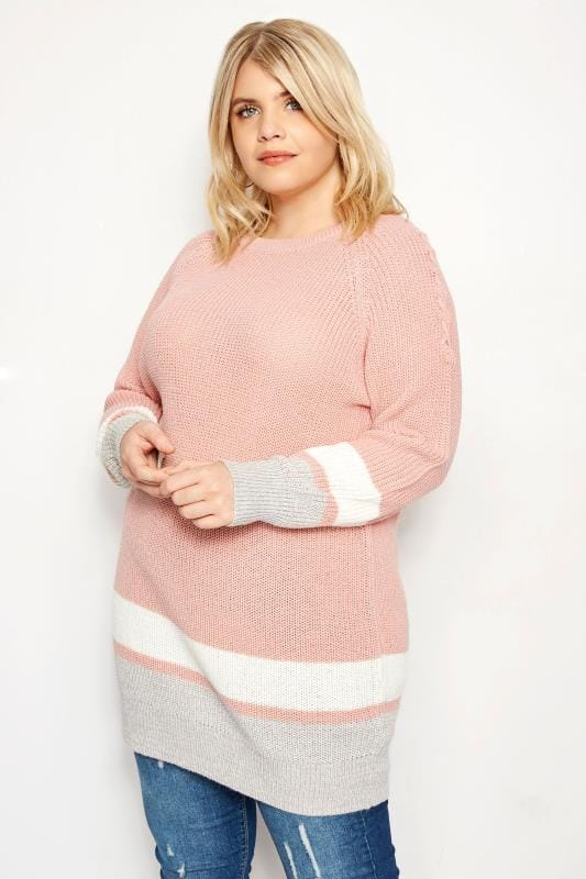Pink Striped Lace Jumper